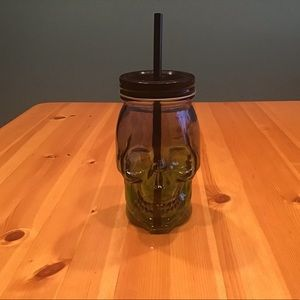 SKULL MASON JAR Ombré Glass Cup w/cover & straw